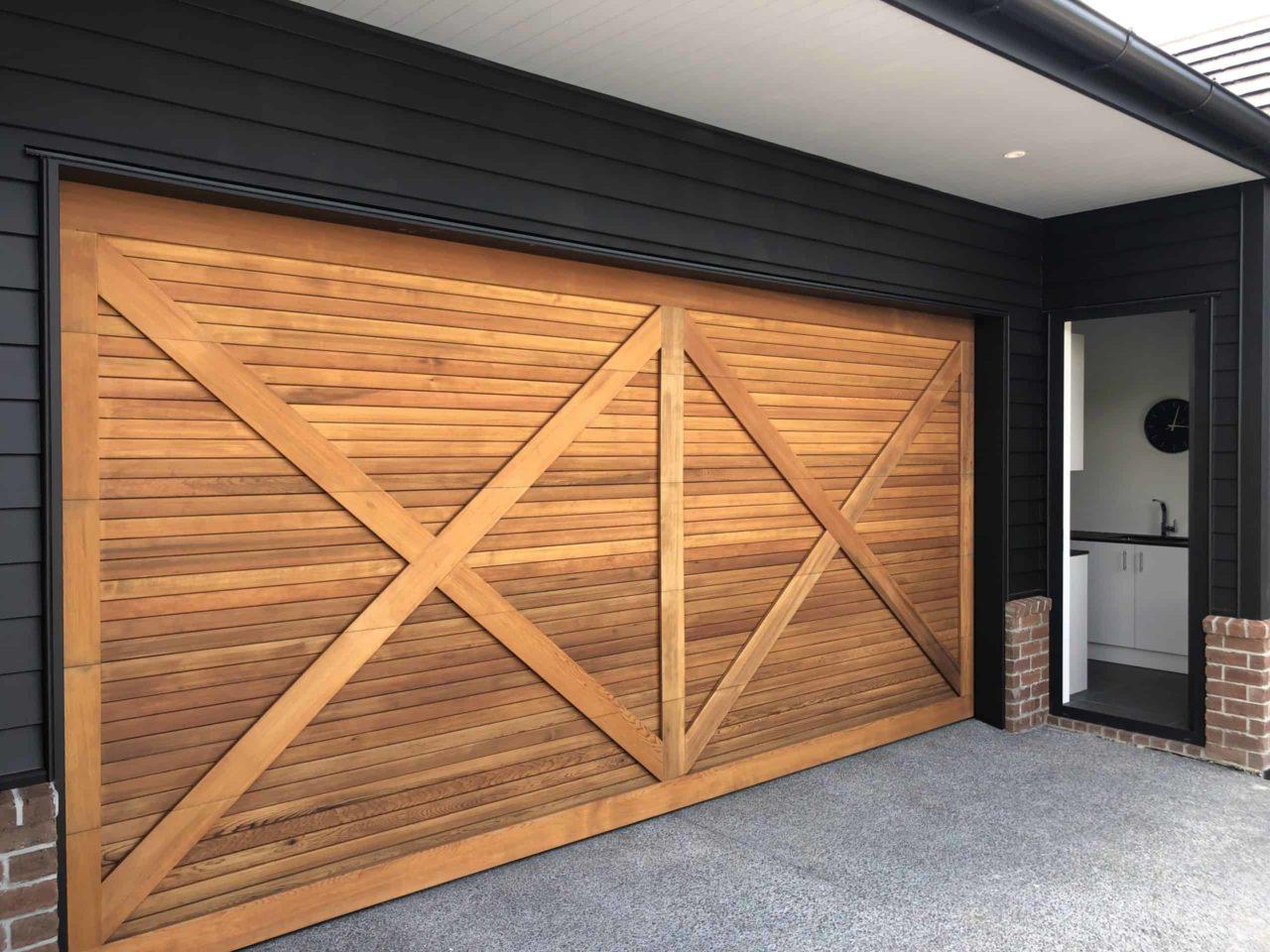 CP837 Horizontal Shiplap with double driss cross batten overlay Cedar Custom Made Sectional Garage Door