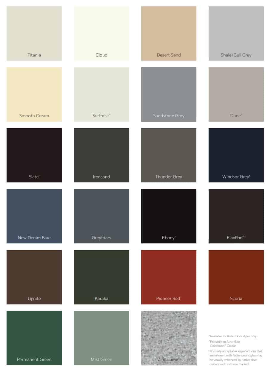 Dominator Garage Door Colours